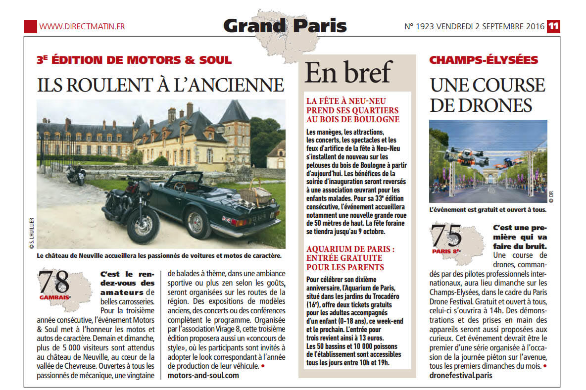 Motors and Soul article de presse dans Direct Matin